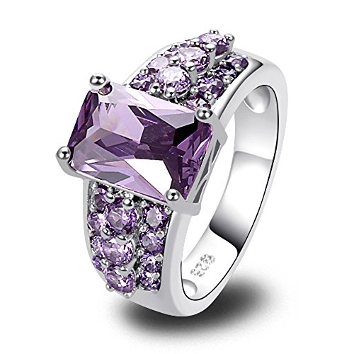Empsoul 925 Sterling Silver Natural Chic Filled Emerald & Round Cut Amethyst Topaz February Birthstone Proposal Ring