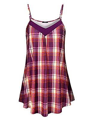 VALOLIA Women's Spaghetti Strap Shirt V-Neck Tank Top Dress Summer Sleeveless Casual Plaid Cami Tunic