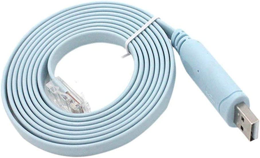 Manakayla 1.8 Meters Durable PVC USB to RJ45 Cable Suitable for Cisco USB Console Cable Blue