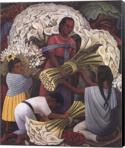 - Flower Vendor by Diego Rivera Canvas Art Wall Picture, Museum Wrapped with Black Sides, 21 x 25 inches