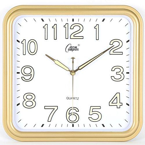 (CLOCKZHJI Silent Wall Clock, Living Room Office, Simple and Stylish Square Quartz Clock (Color : Gold))