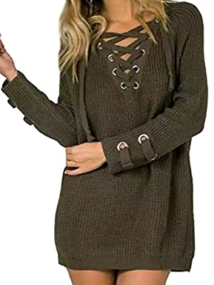 Joeoy Women's Lace Up Front V Neck Long Sleeve Knit Sweater Dress Top