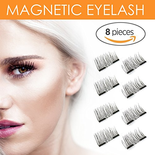 8x Magnetic Eyelashes [No Glue] Premium Quality False Eyelashes Set for Natural Look - Best Fake Lashes Extensions One Two Cosmetics 3D Reusable Lash False Eyelashes