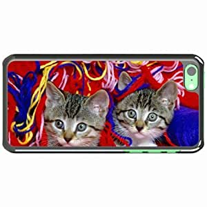 iPhone 5C Black Hardshell Case kittens steam thread see Desin Images Protector Back Cover