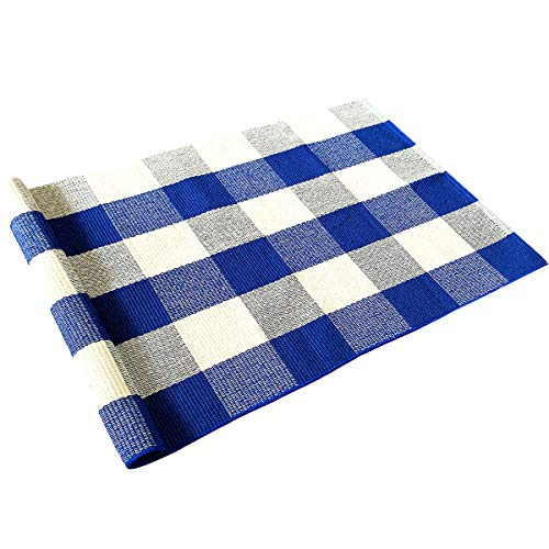 - Levinis Blue Buffalo Plaid Rugs 2'×3'- Cotton Hand-Woven Rug Farmhouse Front Porch Rugs Outdoor Doormat Washable Buffalo Check Rug for Kitchen/Bathroom/Entry Way/Sink