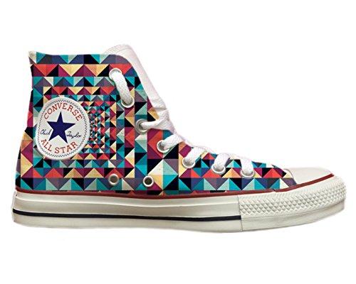 Zapatillas Converse All Star personalizadas con impresión de triángulos de colores Multicolor