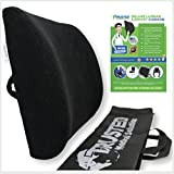 Trusted XL Back Lumbar Support Pillow - ★ Won't Flatten 100% Pure Memory Foam ★ - Posture Cushion Pain Relief for Office, Car, Home, Travel - Removable Attach Anywhere Extendable Straps (Black)