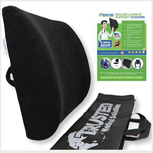 Trusted XL Back Lumbar Support Pillow - ★ Won't Flatten 100% Pure Memory Foam ★ - Posture Cushion Pain Relief for Office, Car, Home, Travel - Removable Attach Anywhere Extendable Straps (Black) by Trusted Medical Solutions