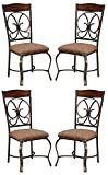 Ashley Furniture Signature Design – Glambrey Dining Room Chair Set – Scrolled Metal Accents – Set of 4 – Brown