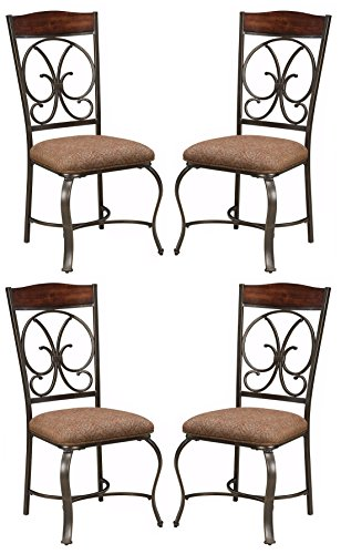 Ashley Furniture Signature Design - Glambrey Dining Room Chair Set - Scrolled Metal Accents - Set of 4 - (Bronze Dining Room Table)