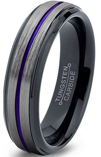 Chroma Color Collection Tungsten Wedding Band Ring 6mm for Men Women Blue Red Green Purple Black Center Line Step Beveled Edge Brushed Polished Size 6.5 by Chroma Color Collection