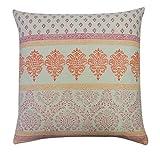 Vivai Home Pink Paisley Stamp Horizontal Square 24x 24 Cotton Feather Pillow