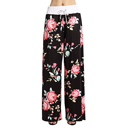Ensasa Women's Wide Leg Pants Drawstring High Waist Floral Printed Black Casual Loose Yoga Pants, Black, XXX-Large