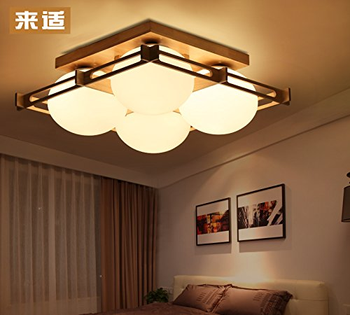 KHSKX Lámpara de techo,4 sencillos de madera maciza de ...