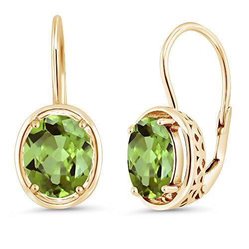 Gem Stone King Green Peridot 18K Yellow Gold Plated Silver Dangle Earrings 3.60 Cttw Oval 9X7MM ()
