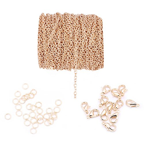 20ft 4x6mm Twisted Cross Chains Metal Cable Chain Link and 20pcs Lobster Clasp & 100pcs Open Jump Ring Jewelry Making Chain for DIY Making Bracelet Necklace (KC Gold) (Fancy Clasp Lobster)