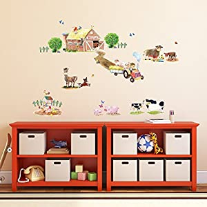 DECOWALL DW-1407 Pony Club and Farm Animals Kids Wall Decals Wall Stickers Peel and Stick Removable Wall Stickers for Kids Nursery Bedroom Living Room