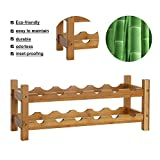 Kinbor 12-Bottle 2-Tiers Natural Bamboo Wine Display and Storage Rack