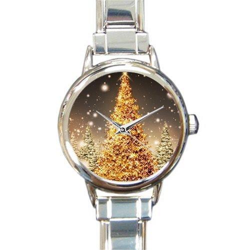 Personalized Watch Beautiful Christmas Tree Art Round Italian Charm stainless steel Watch