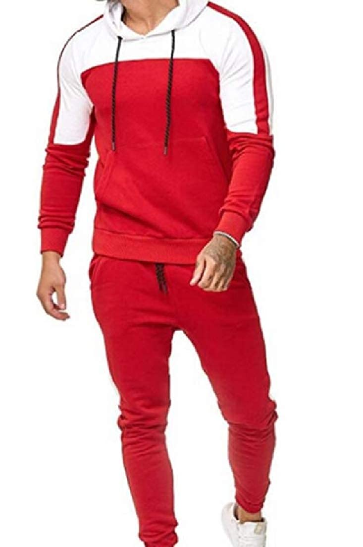 X-Future Mens Top /& Long Pants Hooded Jogger Casual Color Block 2 Piece Outfits Tracksuit Outfit Set