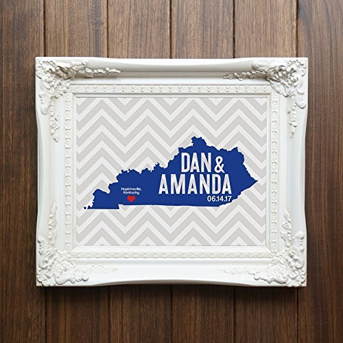 Kentucky or ANY State Map Print with Couple's names wedding date and (Kentucky Pottery)