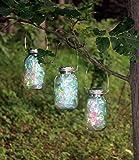 Set of 6 LARGE Hanging SILVER Fairy Light Mason Jar Solar Powered Lanterns, Firefly Lights Lamp
