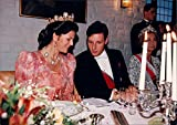 Vintage photo of Queen Silvia and Crown Prince Haakon of Norway in conjunction with an unknown official dinner.