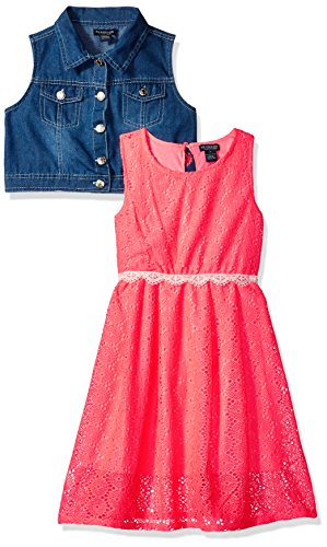 U.S. Polo Assn. Little Girls' Sundress with Denim Vest, Neon Coral, 4 (Coral Sun)