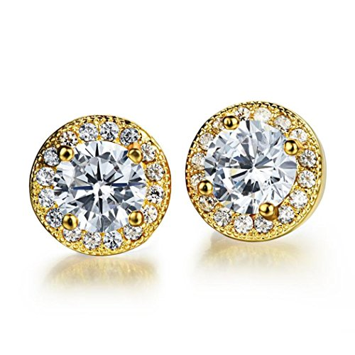 Dog Brother 18k Gold Plated Cubic Zirconia Halo Round Diamond Stud Earrings 8mm