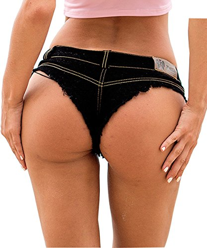 Yollmart Womens Low Rise Mini Denim Shorts Denim Thong Beach Jeans Shorts-Black-S (Shorts Short On Rise The Womens)