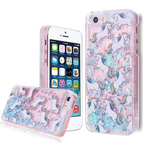 We Love Case Bling Bling Funda para iPhone 5/5S/SE Líquido Glitter Lentejuelas Carcasa Plástic Duro Tapa Case Cover Claro Cristal Transparente Cubierta Caja de Protección Resistente a Arañazos Choque