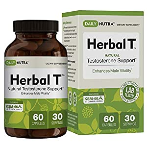 Herbal T Natural Testosterone Booster: Increase Energy, Endurance, and Libido. Male Enhancement Supplement Featuring Clinically Proven KSM-66 Ashwagandha (30 day supply) natural male libido enhancement - 513QTzxJ8oL - natural male libido enhancement