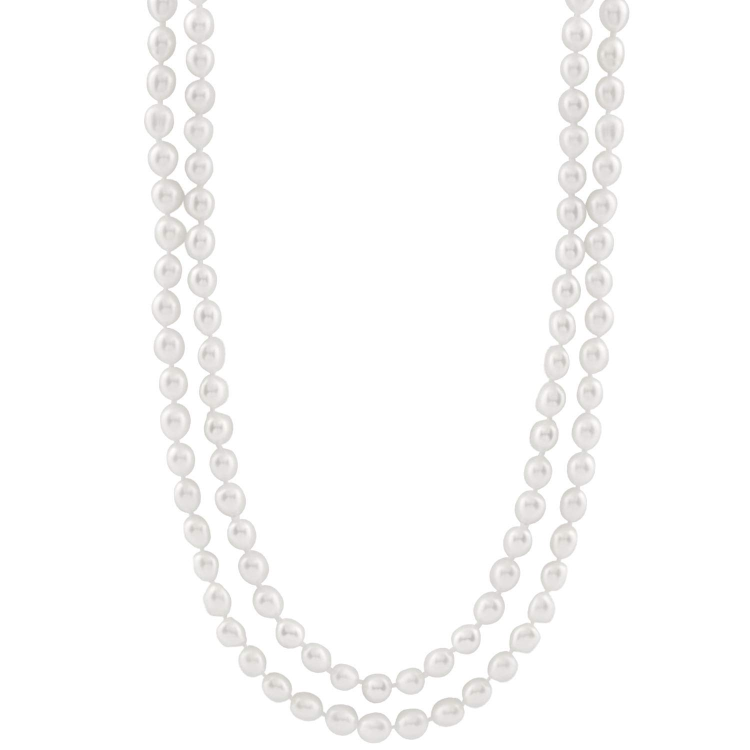 Handpicked A Quality 5-5.5mm White Freshwater Cultured Pearl Strand Endless 52' Necklace Splendid Pearls