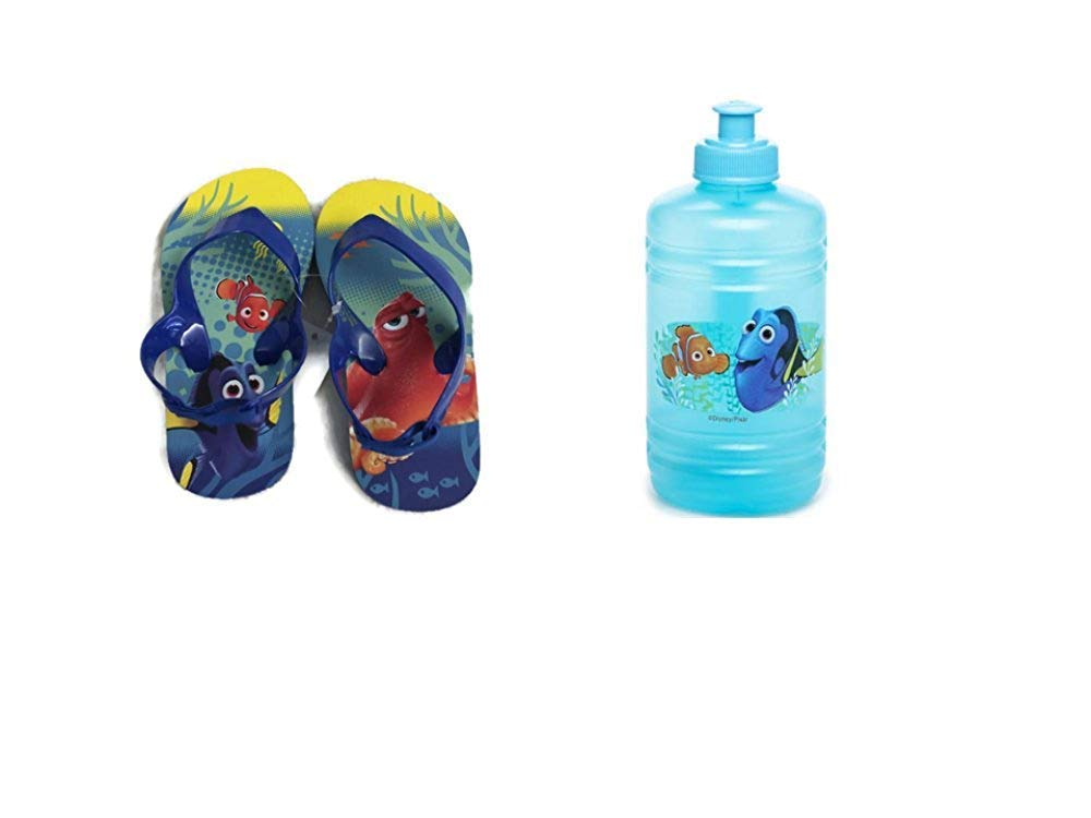 Disney Pixar Toddler Boy's Finding Dory Flip Flop Slingback Sandals Plus Water Bottle (7/8) Blue/Yellow