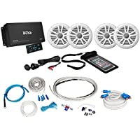 Boss ASK904B.64 4-Channel 600W Marine Amplifier W/Bluetooth+(4) Speakers+Amp Kit