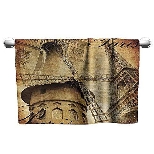 DUCKIL Modern Hand Towels Eiffel Tower Decor Collection Parisian Architecture Monument Vacation Tourist Destination Vintage Style Pattern Custom Bath Towel 63 x 31 inch Ivory Black