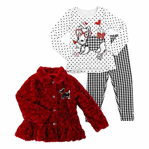 Young Hearts Infant Girls Scottie Dog Outfit Shirt Faux Fur Coat Leggings 18m