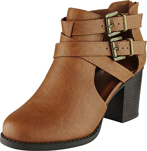 Cambridge Select Women's Side Cut Out Buckle Chunky Stacked Heel Ankle Bootie (8 B(M) US, Tan PU)