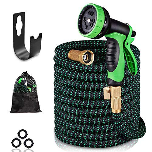 AIRKOUL Expandable Garden Hose 75 ft Water Hose Lightweight Durable Flexible Hose 10 Function Spray Hose Nozzle 3/4 Solid Brass Connectors Extra Strength No Kink Garden Expanding Hose
