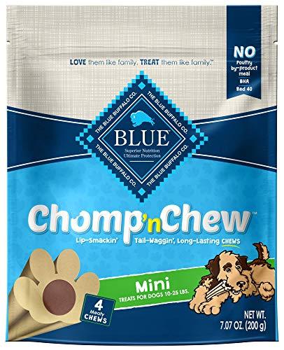 (Blue Buffalo Chomp'n Chew Long-Lasting Chews Dog Treats, Mini (4 count, 7.07oz bag))