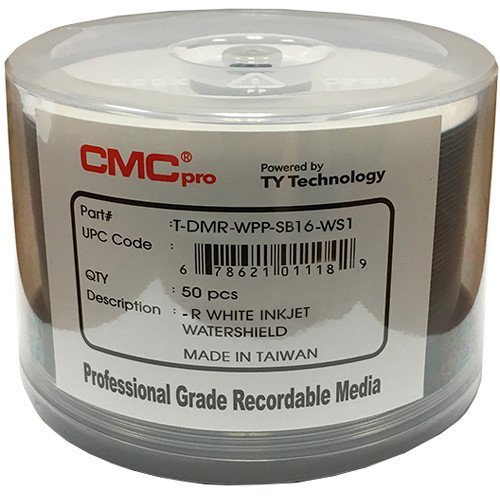 CMC Pro - Powered byTY Technology Watershield Glossy White Inkjet Hub 16X DVD-R - 50-Pack by CMC Pro - Powered by TY Technology