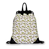 Dragonfly Nice Drawstring Bag,River Side Flowers Loddon Lilies Leaves with Mosaic Pattern Like Wings Image For hiking,7.4'L x 1.5'W x 9.4'H