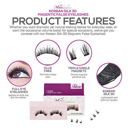 15f42fbbce2 Amazon.com : Mas-Lashes Korean Silk Black 3D Magnetic False Eyelashes  triple single magnets Reusable No Glue Fake Lashes for Easy Application -  Lashes Cover ...