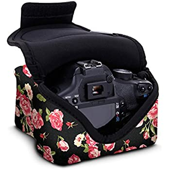 DSLR Camera Case / SLR Camera Sleeve (Floral) with Neoprene Protection , Holster Belt Loop and Accessory Storage by USA Gear - Works With Nikon D3400 / Canon EOS Rebel SL2 / Pentax K-70 & Many More