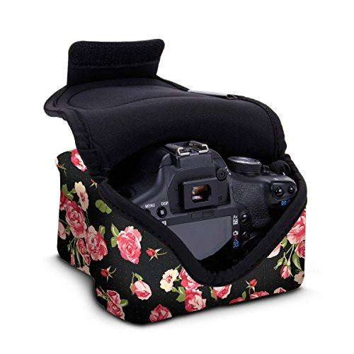 DSLR Camera Case / Camera Sleeve (Floral) with Neoprene Protection , Holster Belt Loop and Accessory Storage by USA Gear – Works With Nikon D3400 / Canon EOS Rebel SL2 / Pentax K-70 & Many More DSLRs