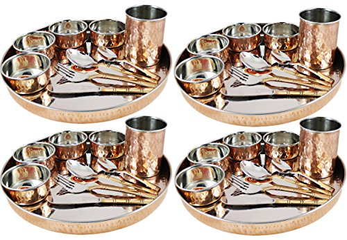 Dinnerware Set, Service for 4, Copper Stainless Steel Large Dinner Plate, Cutlery, Bowls, and (Copper Plates)