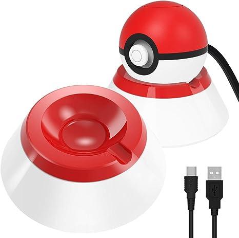 OIVO Soporte con cable de carga tipo C compatible con Nintendo Switch Poke Ball Plus Controller, kit de accesorios 2 en 1 compatible con Nintendo Pokémon Lets Go Pikachu Eevee Game Controller: