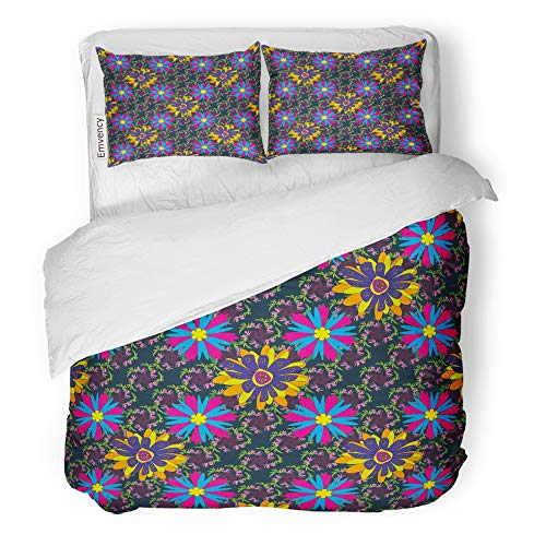 (Emvency Decor Duvet Cover Set Full/Queen Size Abstract Cute Mille Fleurs Floral Yellow Blue and Magenta Pattern Bloom Bouquet 3 Piece Brushed Microfiber Fabric Print Bedding Set)