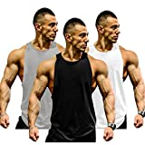 Muscle Killer 3-Pack Mens Gym Tank Tops Muscle Cut Stringer Bodybuilding Workout Sleeveless Gym Shirts (Tag L=US M, Gray+Black+White)