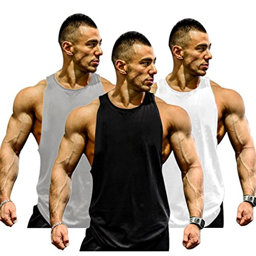(Muscle Killer 3-Pack Mens Gym Tank Tops Muscle Cut Stringer Bodybuilding Workout Sleeveless Gym Shirts (Tag XL=US L, Gray+Black+White) )